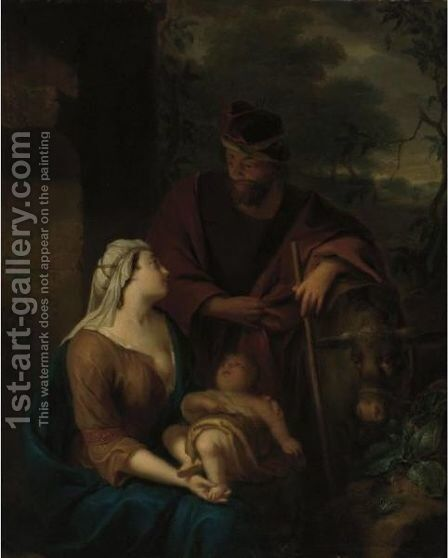 The Rest On The Flight Into Egypt by Arnold Houbraken - Reproduction Oil Painting