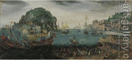 A Rocky Coastal Landscape With A Skirmish Between English Vessels And Galleys by Adam Willaerts - Reproduction Oil Painting