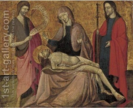 Pieta With Saints John The Baptist And James by (after) Giovanni Da Modena - Reproduction Oil Painting
