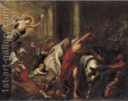 The Triumph Of The Eucharist Over Pagan Sacrifices by (after) Willem Van, The Elder Herp - Reproduction Oil Painting