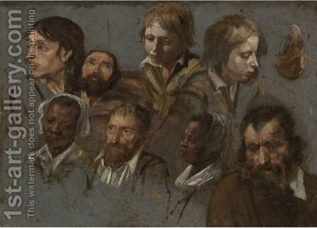 Study Of Nine Heads by (after) The Maitre Des Jeux - Reproduction Oil Painting