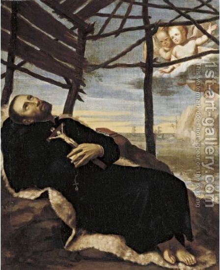 Death Of Saint Francis Xavier by Spanish School - Reproduction Oil Painting