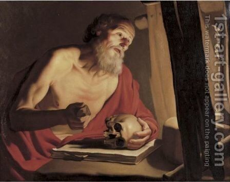 Saint Jerome With A Skull And Crucifix by (after) Michelangelo Merisi Da Caravaggio - Reproduction Oil Painting