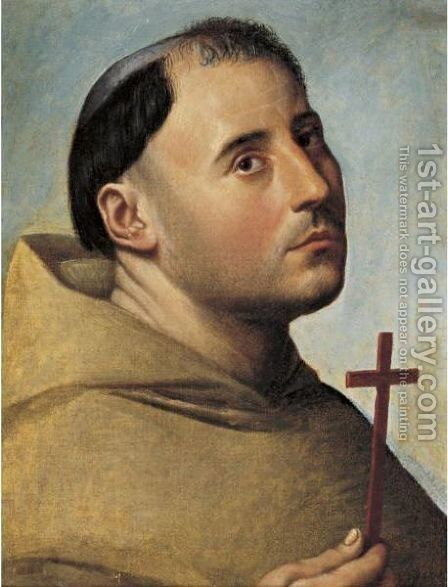Portrait Of A Monk With A Cross by Bernardino Licinio - Reproduction Oil Painting
