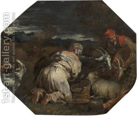 A Peasant Woman Milking A Goat by (after) Jacopo Bassano (Jacopo Da Ponte) - Reproduction Oil Painting