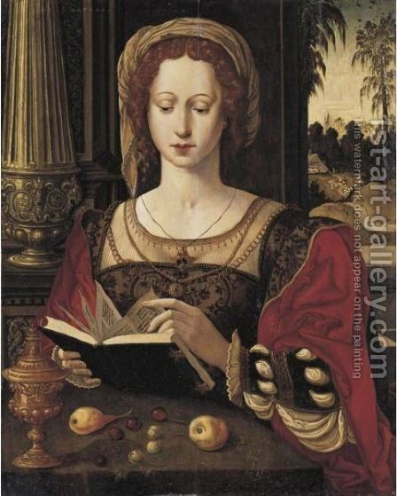 Mary Magdalene Reading, Seated In An Interior, Before An Open Window by (after) Pieter Coecke Van Aelst - Reproduction Oil Painting