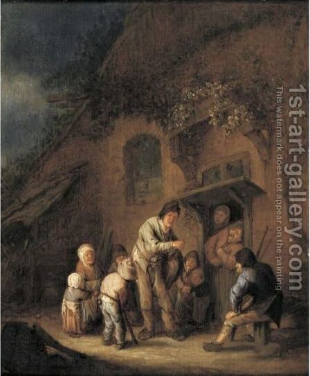 A Hurdy-Gurdy Player Before A Farmhouse by Adriaen Jansz. Van Ostade - Reproduction Oil Painting