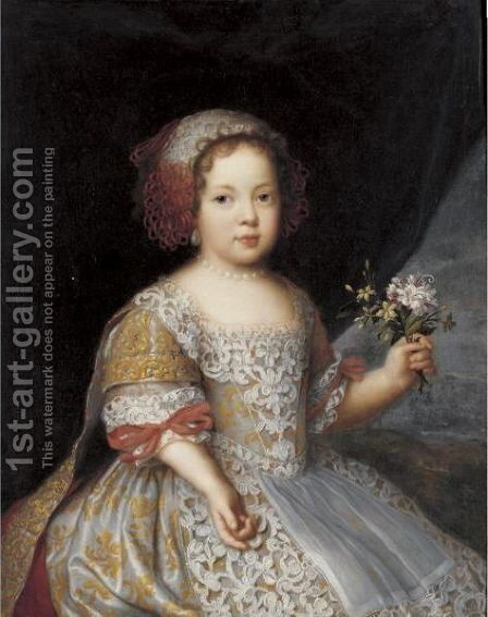 Portrait Of A Girl, Three Quarter Length, Wearing An Elaborate Dress And Holding Wild Flowers by (after) Jacob Ferdinand Voet - Reproduction Oil Painting