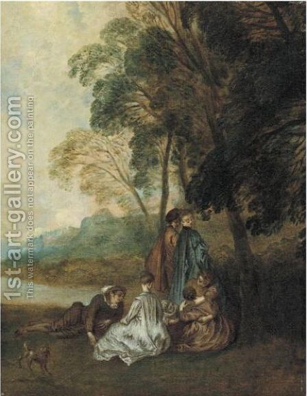 Fete Champetre by (after) Watteau, Jean Antoine - Reproduction Oil Painting