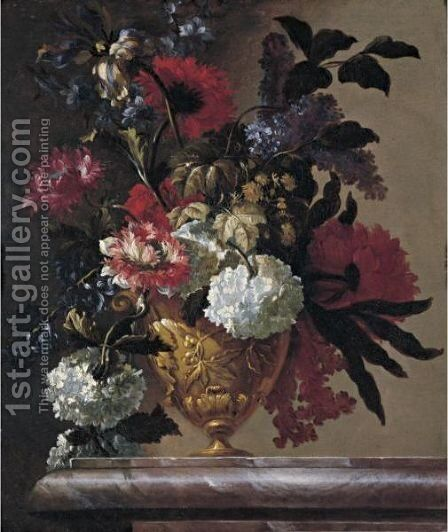 Still Life Of Flowers In Sculpted Urn by Jean Baptiste Belin de Fontenay - Reproduction Oil Painting