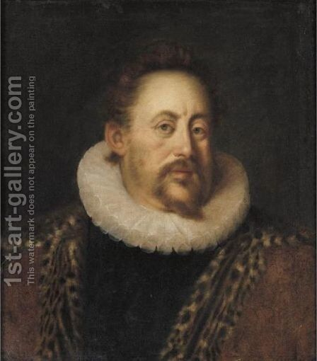 Portrait Of Count Otto Heinrich Von Schwarzenberg, Half Length, Wearing A White Ruff And A Leopard Skin Cloak by (after) Hans Von Aachen - Reproduction Oil Painting
