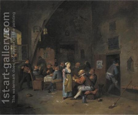 Boors Carousing And Eating In A Tavern by Egbert van, the Younger Heemskerck - Reproduction Oil Painting