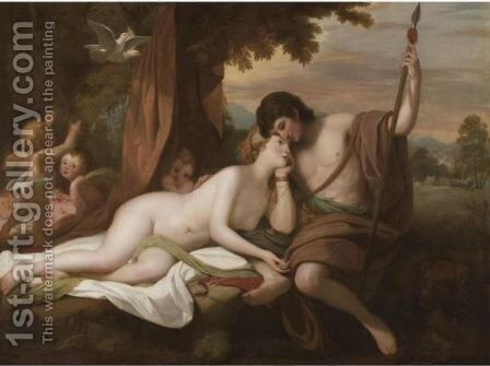 Venus Relating To Adonis The Story Of Hippomenes And Atalanta by Benjamin West - Reproduction Oil Painting