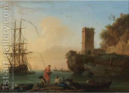 A Coastal Landscape At Dusk With Fishermen And Women In The Foreground, Sailors Disembarking From A Ship Beyond by Claude-joseph Vernet - Reproduction Oil Painting
