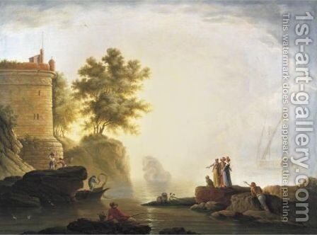 Port Scene With Elegant Figures And Fishermen by (after) Jean-Henri D'Arles - Reproduction Oil Painting