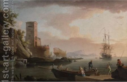 A Mediterranean Harbor With A Shipyard by Jean-Henri D'Arles - Reproduction Oil Painting