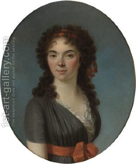 Portrait Of A Young Lady, Half Length, Wearing A Blue Dress And A Red Hairband by Marie-Victoire Lemoine - Reproduction Oil Painting