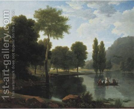 Rowing Party In A Landscape by Jean-Victor Bertin - Reproduction Oil Painting