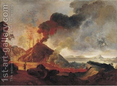 View Of Mount Vesuvius Erupting by Marie Bordere - Reproduction Oil Painting