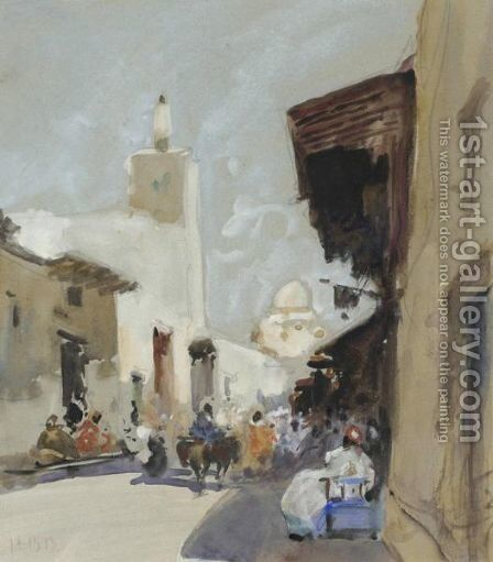 A North African Street Scene by Hercules Brabazon Brabazon - Reproduction Oil Painting