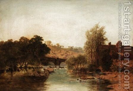 Ludford Bridge by Edmund John Niemann, Snr. - Reproduction Oil Painting