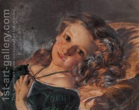 A Girl Reclining by Sophie Gengembre Anderson - Reproduction Oil Painting