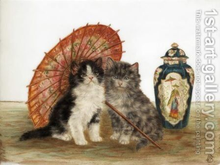Kittens At Play by Bessie Bamber - Reproduction Oil Painting
