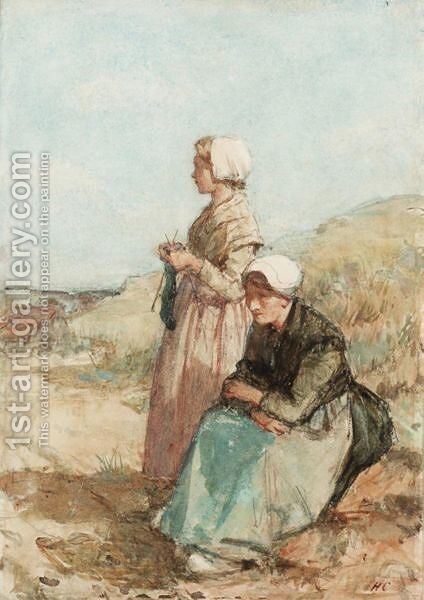 A Woman Knitting With Seated Woman by Hugh Cameron - Reproduction Oil Painting