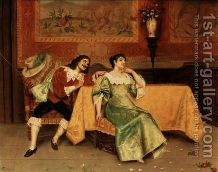 The Courtship by Antonio Cecchini - Reproduction Oil Painting