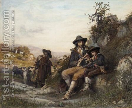 The Young Shepherd's Music Lesson by Arnoldo Corrodi - Reproduction Oil Painting