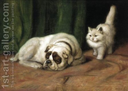Let Sleeping Dogs Lie by Arthur Heyer - Reproduction Oil Painting
