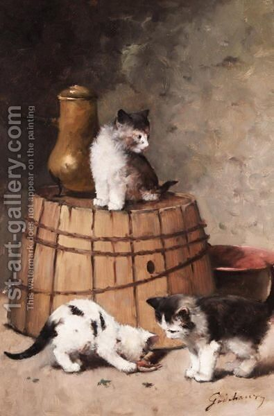 Kittens At Play by Alfred Godchaux - Reproduction Oil Painting