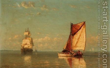 Fishing Boats by Joannes Frederick Schutz - Reproduction Oil Painting