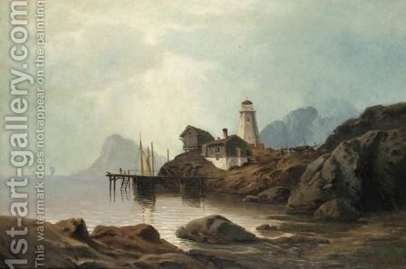 Lighthouse By The Fjord by (after) Hans Fredrik Gude - Reproduction Oil Painting