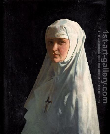 Portrait Of Yvonne Aubicq As A Nun by Sir William Newenham Montague Orpen - Reproduction Oil Painting
