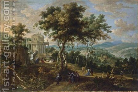 A Panoramic Classical Landscape With Elegant Figures Strolling And Resting Near A Palace, A View Of A River Beyond by (after) Jan Van Den Hecke - Reproduction Oil Painting