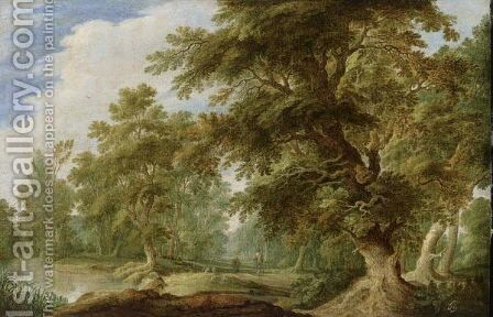 A Wooded Landscape With A Stream And Shepherds With Their Flock On A Path by Alexander Keirinckx - Reproduction Oil Painting