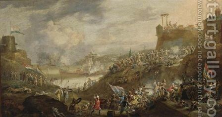 A Battle Scene Between Dutch And Turkish Soldiers With Artillery, Near A Fortress On A Mediterranean Coast, A Naval Battle In The Bay Nearby by (after) Jan Peeters - Reproduction Oil Painting