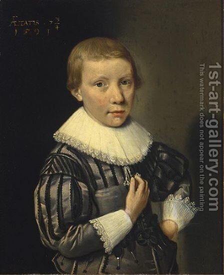 A Portrait Of A Young Boy At The Age Of Seven And Three-Quarters by Dutch School - Reproduction Oil Painting