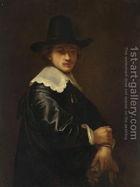 A Portrait Of A Young Gentleman, Standing Half-Length, Wearing A Black Costume And Hat With A White Lace Collar, Holding Gloves by (after) Ferdinand Bol - Reproduction Oil Painting