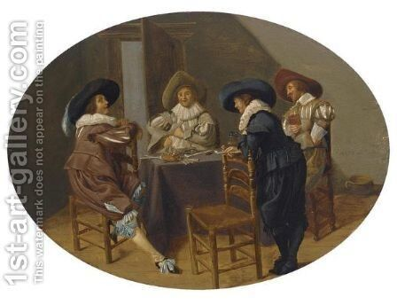 An Elegant Company Smoking And Drinking In An Interior by Dirck Hals - Reproduction Oil Painting