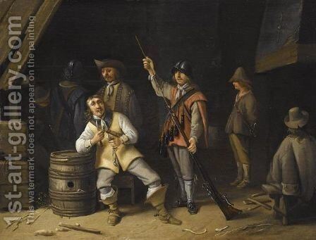 Kortegaardje With A Soldier Eating A Herring And Another Cleaning His Musket by Anthonie Palamedesz. (Stevaerts, Stevens) - Reproduction Oil Painting