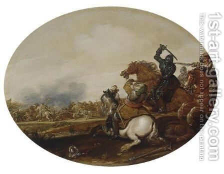 A Cavalry Battle 2 by Jan the Younger Martszen - Reproduction Oil Painting