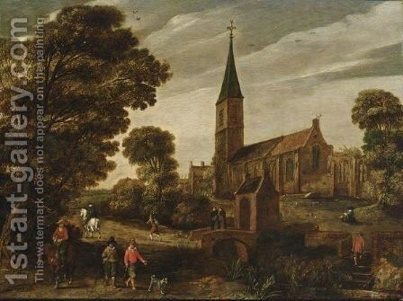 A Wooded Landscape With Figures Near A Church And Two Monks Conversing On A Stone Bridge by Esaias Van De Velde - Reproduction Oil Painting