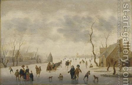A Winter Landscape With Elegant Figures Skating And A Couple In A Horse-Drawn Sleigh On The Ice by Anthonie Verstraelen - Reproduction Oil Painting