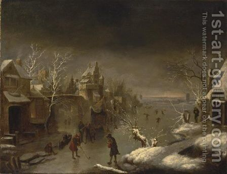 A Winter Landscape With Colf Players On The Ice Near A Town Gate by Claes Molenaar (see Molenaer) - Reproduction Oil Painting