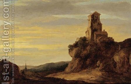 A Landscape With Figures Walking On A Path Towards A Ruin On A Hill, A Church Tower In The Background by (after) Pieter De Molijn - Reproduction Oil Painting