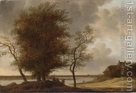 A River Landscape With Figures Resting Under A Tree, A Farmhouse To The Right, A Town In The Distance by (after) Anthony Jansz Van Der Croos - Reproduction Oil Painting