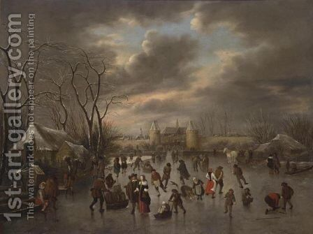 A Winter Landscape With A View Of Haarlem From The North With The Eentjes Or Leidse Waterpoort And The Langebrug, And A View Of The St. Bavo And The Bakenesse Church Beyond by Claes Molenaar (see Molenaer) - Reproduction Oil Painting