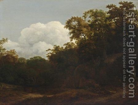 A Wooded Landscape With A Waterfall Ending In A Forest Pond by Cornelis Hendricksz. The Younger Vroom - Reproduction Oil Painting